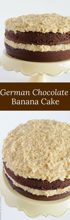 This recipe for German Chocolate Banana Cake features the traditional light chocolate cake with a coconut-banana filling.  via @introvertbaker