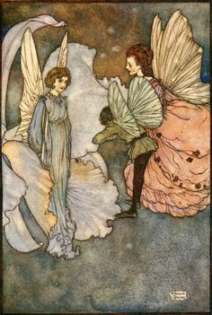 """Edmund Dulac ~ 'Princess Orchid's Party'  """"Fairies I Have Met""""  by Mrs. Maud Margaret ~ 1910  """"She smiled at him very graciously when he was introduced to her""""."""