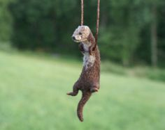Tiny Otter Necklace / sculpture - needle felted