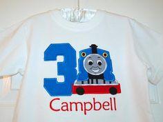 Thomas The Train Appliqued T Shirt. $22.00, via Etsy.