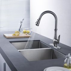 Kablle Commercial Single Handle High Arch Brushed Nickel Kitchen Faucets
