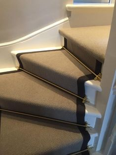 To supply & install grey carpet with black border and golden stair rods to stairs Carpet Decor, Diy Carpet, Modern Carpet, Rugs On Carpet, Carpets, Basement Carpet, Carpet Stairs, Stairs With Carpet Runner, Hallway Carpet
