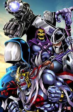 80's cartoon villains - Megatron, Skeletor, Shredder, Cobra Commander, and Mum-Ra