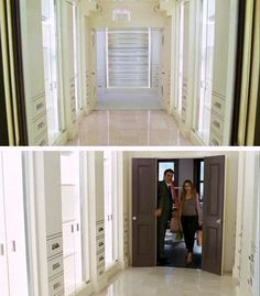 Carrie's closet in the first Sex and the City movie. Love the cabinetry and shoe storage area...