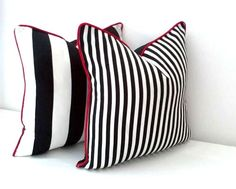 "Black and White Striped Throw Pillow 20"" by 20"", Thin Black and White Stripes With Black Back, Beach Cushion Design, Outdoor"