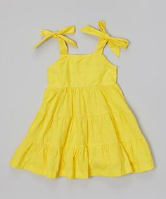 Loving this Yellow Tiered Eyelet Dress - Infant, Toddler & Girls on #zulily! #zulilyfinds 14.99