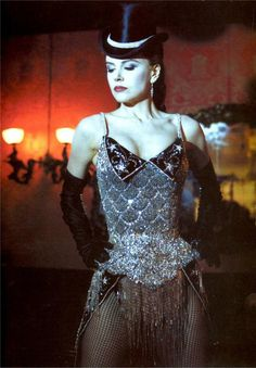 Nicole Kidman,  Moulin Rouge.  The weight of This corset is incredible, due to the excessive beading and the amount of Swarovski rhinestones used