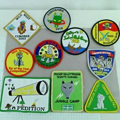 Lot of 10 Cub Scout Badges Patches Camps Cuboree Cuborama Canada Cub Scout Badges, Cub Scouts, Girl Scouts, Cub Scout Patches, Vintage Boys, Merit Badge, Camps, Fabric Patterns, Blue Bird