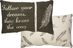 Follow Your Dreams Pillow – Laney Lu's Boutique Rustic distressed vintage look feather pillow on cotton canvas tribal decor
