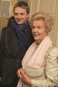 William Cavendish, Earl of Burlington with his grandmother, the Dowager Duchess of Devonshire (2010)