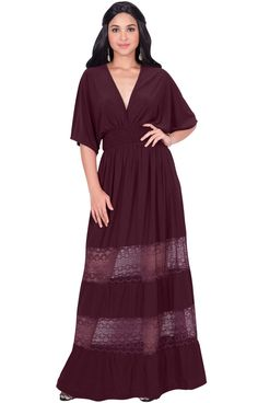 KOH KOH Petite Womens Long Sexy Summer Spring VNeck Half Short Kimono Sleeve Sundress Lace Flowy Casual Empire Waist Boho Bohemian Tall Beach Elegant Maxi Dress Gown Maroon Wine Red S 46 -- You can obtain more information by clicking the image. (This is an affiliate link). Plus Size Maxi Dresses, Sexy Dresses, Maxi Bridesmaid Dresses, Wedding Dresses, Elegant Maxi Dress, Short Kimono, Flowy Skirt, Gowns, Lace