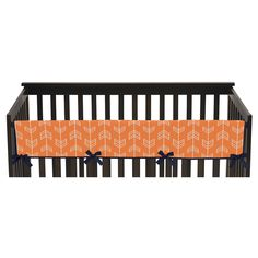 Sweet Jojo Designs Orange & Navy Arrow Long Crib Rail Guard Cover - Orange