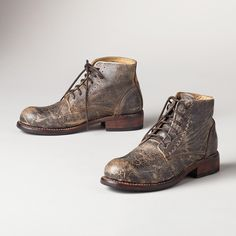 AMERICAN LEGEND BOOTS -- Classic lace-up boots with a patina of age and wisdom. Each pair is unique. Whole and half sizes 6 to heel. Fashion Boots, Mens Fashion, American Legend, Rugged Style, Punk, Designer Boots, Lace Up Boots, Knee High Boots, Combat Boots