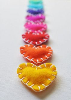 Items similar to Custom Colors Wool Heart Magnets - Set of THREE Magnets - Neon Office Home Decor on Etsy - Heart shaped felt Magnets – hand sewing project idea - Sewing Projects For Kids, Sewing For Kids, Sewing Ideas, Valentine Day Crafts, Valentines, Fabric Crafts, Sewing Crafts, Zipper Crafts, Felt Hearts