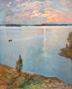 Väinö Hämäläinen (Finnish, Lake landscape, Oil on canvas, 74 x 61 cm. Landscape Art, Landscape Paintings, Modern Art, Contemporary Art, Nordic Art, Beautiful Paintings, Love Art, Painting & Drawing, Amazing