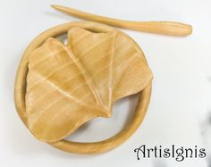 Ginkgo Leaf Shawl Pin by ArtisIgnis, Inspired in Nature, Handmade Linden wood Hair Slide, Gift for her