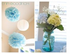Would be cute to do colorful mason jars with single flowers for decorations.