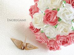 2 color R8  White Bouquet of 18 Fine Origami Roses  by Inorigami