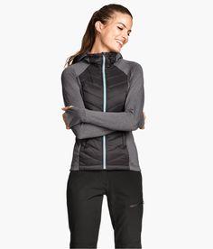 Black & gray lightweight jacket with side pockets and brushed inside. | H&M Sport