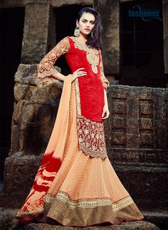 This delightful diva accoutre features unique styling and unusual material. Spread the aura of freshness with this red georgette and jacquard a line lehenga choli showing a touch of sensuality. The et...