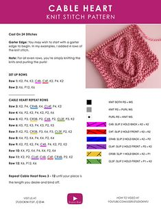 Diy Crafts - Knit up a Cable Heart Stitch Pattern! This interlocking design is a classic project for Valentine's Day and perfect all year round. Cable Knitting Patterns, Knitting Stiches, Crochet Square Patterns, Knitting Designs, Knit Patterns, Stitch Patterns, Knit Stitches, Simply Knitting, Free Knitting
