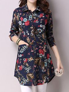 Vintage Printing Turn-Down Long Sleeve Loose Women Blouse Source by clothes hijab Casual Tops For Women, Blouses For Women, Simple Kurta Designs, Mode Abaya, Designs For Dresses, Dresses Kids Girl, Blouse Styles, Casual Dresses, Fashion Outfits