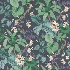 Vesoule (Blue) wallpaper from our Clarence collection Tropical Wallpaper, Botanical Wallpaper, Purple Wallpaper, Blue Wallpapers, Wallpaper Ideas, Iphone Background Vintage, Iphone Background Wallpaper, Wallpaper Paste, Wallpaper Online
