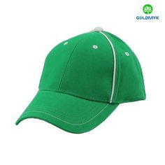 Green Plain six panels Cotton Cap with two strips on front side