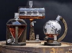 Which of these three decanters from our collection would be your top pick for an addition to your home office or mancave? Maybe go ahead and tag a spouse or significant other that needs to see this as well 😉 Whiskey Decanter, Whiskey Glasses, Cigars And Whiskey, Alcohol Bottles, Liquor Bottles, Diy Birthday Gifts For Him, Alcohol Dispenser, Vintage Gentleman, Bottle Design