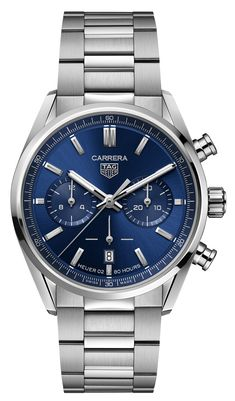 Tag Heuer Carrera Chronograph, Tag Heuer Carrera Calibre, Stylish Watches, Watches For Men, Stainless Steel Bracelet, Stainless Steel Case, Carrera Watch, Brown Leather Strap Watch, Watch Model