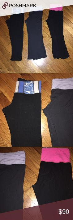 🔴Lulu Lemon Yoga Pants Size 6 Three Pairs I have not treated these pants as well as I should of 😶. However, they are in good used condition with TONS of life left.  Some balling, very little fading, and YES I used fabric cling sheets 😞.  But they are still awesome.  One cropped yoga pant and two flared cropped yoga pants - total of three pairs. lululemon athletica Pants