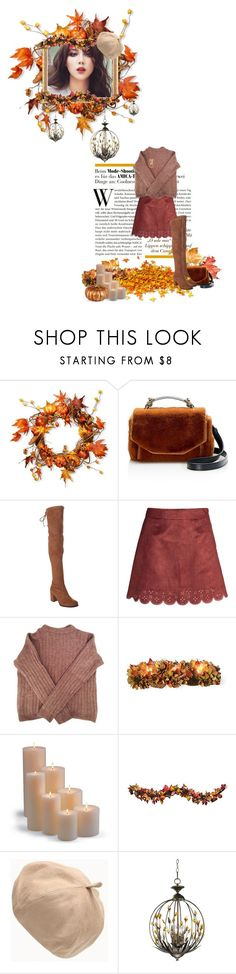 """Cinnamon"" by velvetcore ❤ liked on Polyvore featuring National Tree Company, Maje, Stuart Weitzman, Acne Studios, Frontgate, Improvements and Cyan Design"