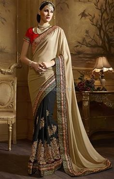 Buy half n half sarees designed with different styles for fashionable women #Trendy #Fashionable #Party #Party Wear #Attractive #Pretty #Designer #Modern #Indian Saree