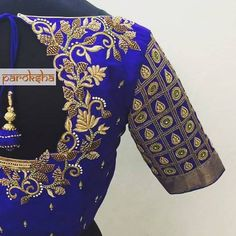 Maggam work blouse To order pls WhatsApp on 9618821933 Wedding Saree Blouse Designs, Pattu Saree Blouse Designs, Fancy Blouse Designs, Wedding Blouses, Cut Work Blouse, Aari Work Blouse, Maggam Work Designs, Blouse Desings, Bollywood