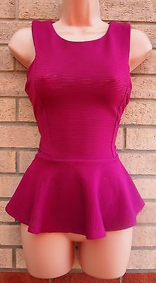 INTERNACIONALE FUCHSIA PINK STRIPE QUILTED PEPLUM CURVY FIT BLOUSE TOP SHIRT 12