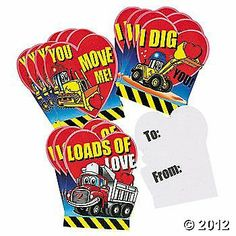 """Valentine Day Cards - Set of 12 Cardboard Cards (Loads Of Love) by OTC. $2.25. Add to Valentine Treat Bags. 12 Pack Of 4 1/2"""" Cardboard Valentines. No Envelopes:  Writen On Back To: And From:. Set Contains 4 Each Of 3 Different Adorable Cards. Cards Are Perfect For Classroom Parties. Loads Of Love Valentine Cards. These cardboard valentine cards are fun for little builders! They feature construction equipment, hearts and the phrases """"You Move Me!"""", """"I Dig You"""" and """"Loads..."""