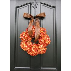 Pumpkin Pie Thanksgiving Wreath Fall Hydrangeas Autumn Wreath Wreaths... ($65) ❤ liked on Polyvore featuring home, home decor, holiday decorations, green, home & living, home décor, ornaments & accents, fall door wreaths, fall hydrangea wreath and green wreath
