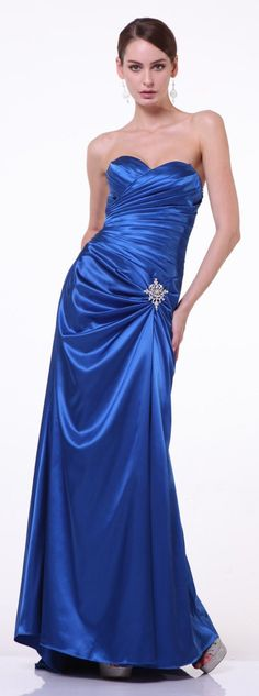 Royal Blue Satin Prom Dress Pleated Bodice Strapless Sweetheart Neck