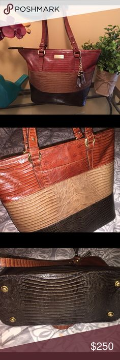 Brahmin Tote Beautiful tricolor Brahmin Tote. Used but excellent condition. Zip top closure. See pic 4 for interior pen mark. Out of suede cleaner or I would remove. Tv higher. Brahmin Bags Totes