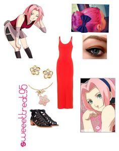 Sakura haruno modern outfits. by sweeettreat95 on Polyvore featuring polyvore fashion style T By Alexander Wang Loeffler Randall People Tree Shaun Leane modern clothing