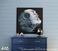 "Star Wars™ Death Star™ LED Artwork by potterybarnkids: Measures 45"" wide x 36"" high. Digitally printed on canvas. Small white LED lights cast a celestial glow from a variety of points. #Artwork #Sar_Wars #LED"