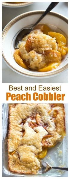 Wonderful, but will reduce amount of sugar in peach step. This old fashioned Peach Cobbler recipe is not only extremely easy to make from scratch, but it's made with fresh or canned peaches, so enjoy it year-round! Old Fashioned Peach Cobbler, Delicious Desserts, Dessert Recipes, Peach Dessert Recipe, Dessert With Peaches, Easy Peach Dessert, Easy Fruit Desserts, Easy Sweets, Pie Dessert