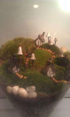 Miniature Landscape Live Moss Terrarium with tiny by GypsyRaku, $80.00