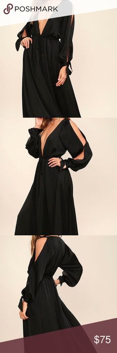 Owning It Black Satin Maxi Dress The Owning It Black Satin Maxi Dress has that bold look you've been craving! Sleek and slightly sheer black satin shapes a deep V-neckline and billowing long sleeves with cutouts and tying cuffs. A drawstring waist with gold beaded ties tops a full maxi skirt. Skirt is lined to mid-thigh. 100% Polyester. Hand Wash Cold. Imported. Lulus Dresses Maxi