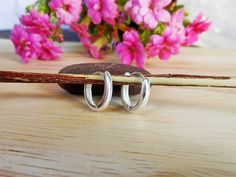 Simple Unisex 2 mm Silver Oval Dome Huggies Earrings With Hinged Ear Wire,Lever back Earring,Geometric Earring,Unisex Pierce Earring,Gifts