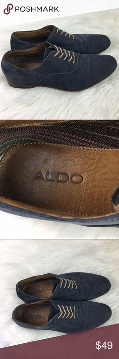 Aldo Blue Suede Oxfords Shoes size 12 Blue suede shoes with stitching detail Aldo Shoes Oxfords & Derbys