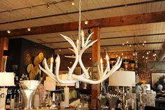 White Real Antler Chandelier Modern Mule Deer by BreedloveDesigns