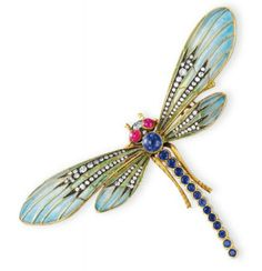 A DIAMOND, MULTI-GEM AND ENAMEL DRAGONFLY BROOCH  Designed as a variously-shaped sapphire, ruby and diamond dragonfly, extending green and blue plique-á-jour enamel wings decorated with single-cut diamonds, mounted in gold