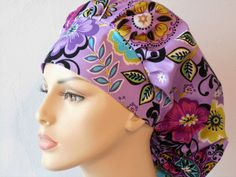 Surgical Bouffant Scrub Hat Purple Floral Medical by SilverCaps