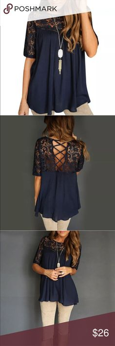 Navy criss cross back  blouse ❤️ Navy criss cross lace blouse ❤️ This blouse is made of a light, flowy material and has the prettiest lace detail. I'm modeling a large. I'm 5'6, 36D. It's loose through the waist and has a laced up back. Tops Blouses
